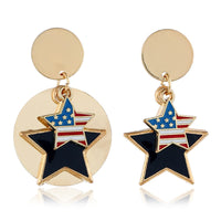 18k Gold-Plated Geometric American Flag Star Drop Earrings - streetregion