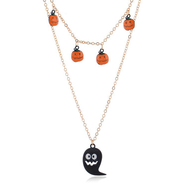 Black & 18k Gold-Plated Layered Ghost Pendant Necklace