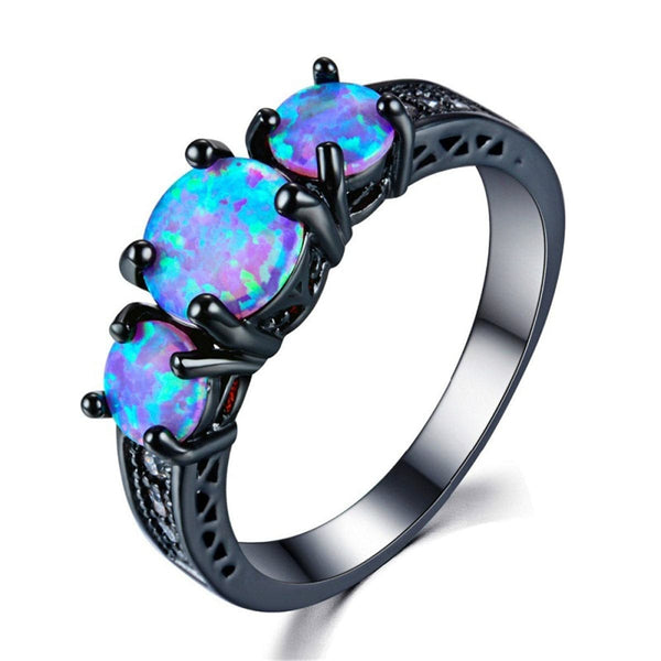 Blue Opal & Black-Plated Tri-Stone Ring - streetregion