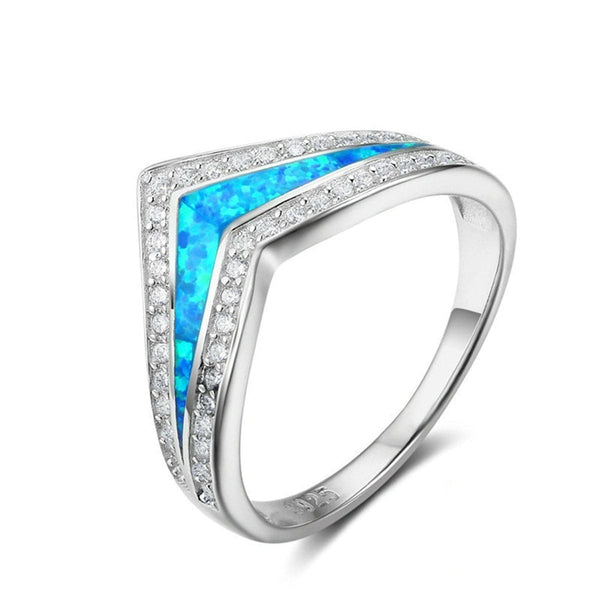Blue Opal & cubic zirconia Pointed V Ring - streetregion