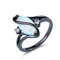 Blue Opal & cubic zirconia Pear-Cut Twisting Ring - streetregion