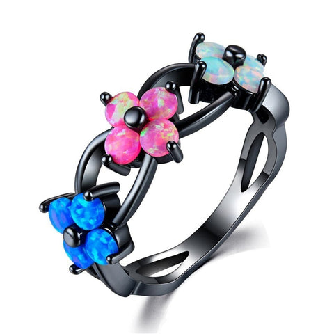 Blue & Pink Opal Flower Openwork Ring - streetregion