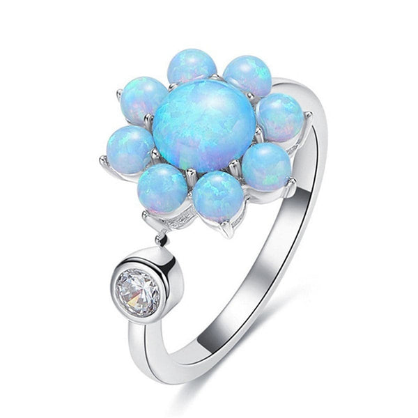 Blue Opal & cubic zirconia Sunflower Ring - streetregion