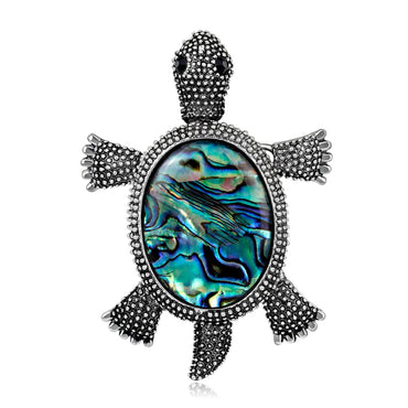 Abalone Shell & Silver-Plated Turtle Brooch - streetregion