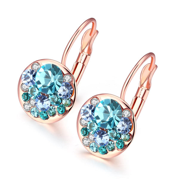 Blue Cubic Zirconia & 18k Rose Gold-Plated Huggie Earrings - streetregion