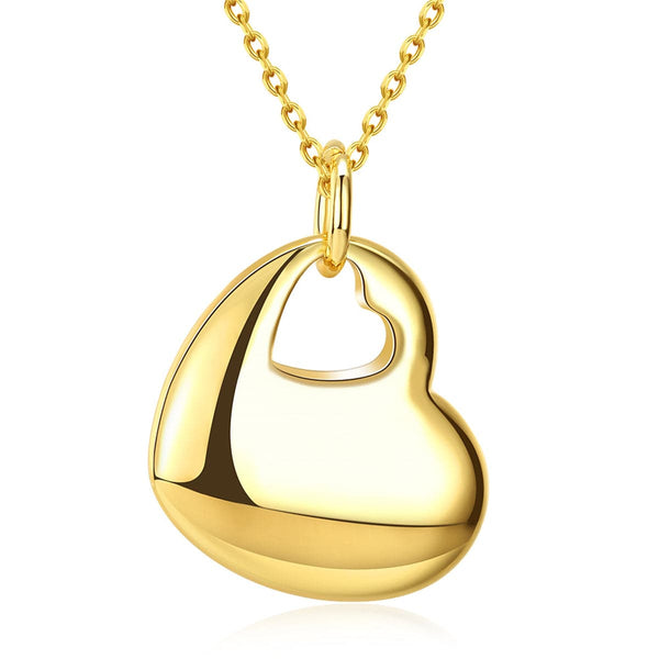 18k Gold-Plated Cutout Heart Pendant Necklace - streetregion