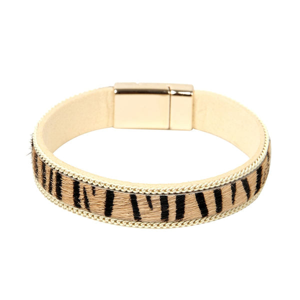 Beige Zebra Leather Belt 0.5'' Bracelet - streetregion