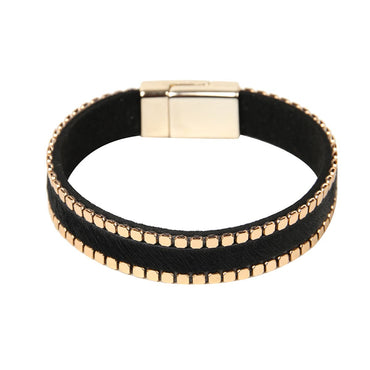 Black & 18k Gold-Plated Belt 0.5'' Bracelet - streetregion
