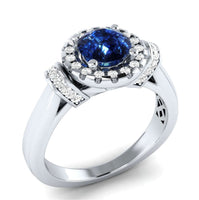 Blue Crystal & cubic zirconia Halo Ring - streetregion