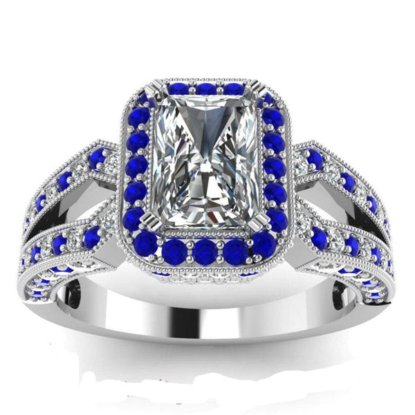 Blue cubic zirconia & Crystal Princess Cut Illusion Ring - streetregion