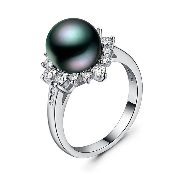 Black Imitation Pearl & Crystal Floral Ring - streetregion