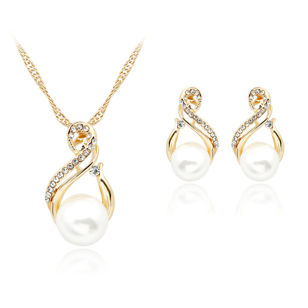 Imitation Pearl & Cubic Zircon Twisted Pendant Necklace Set