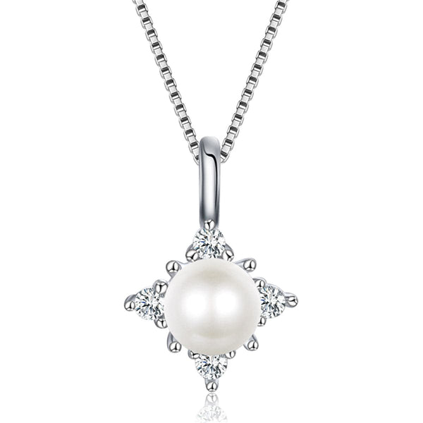 Imitation Pearl & Sterling Silver Pendant Necklace