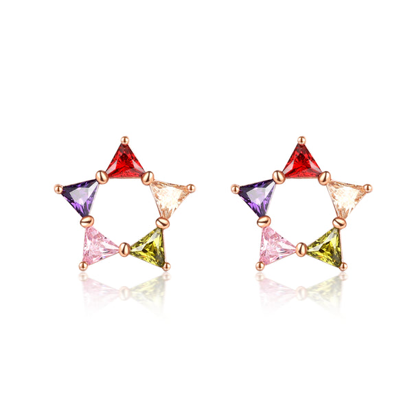 Multicolor Crystal & 18k Rose Gold-Plated Triangle Star Stud Earrings