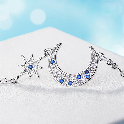 Blue Crystal & Silver-Plated Star & Crescent Moon Bracelet - streetregion