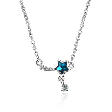 Blue Crystal & Cubic Zircon Star Pendant Necklace - streetregion