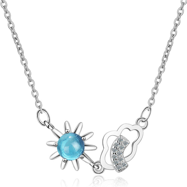Blue Crystal & Cubic Zirconia Sun & Cloud Pendant Necklace
