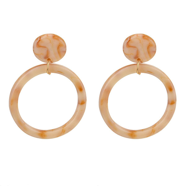 Beige & 18k Gold-Plated Circle Drop Earrings - streetregion