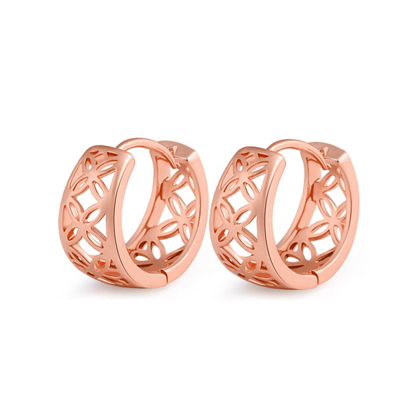 18k Rose Gold-Plated Openwork Huggie Earrings - streetregion