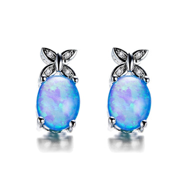 Blue Opal & Cubic Zirconia Oval Butterfly Stud Earrings - streetregion