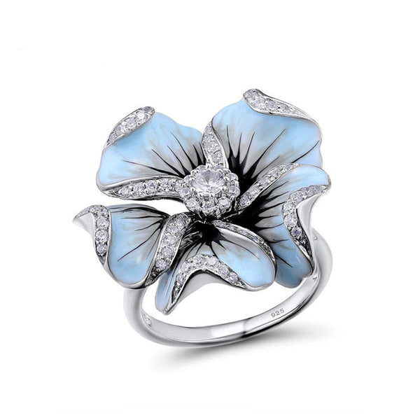 Blue Cubic Zirconia & Silver-Plated Flower Ring