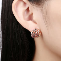 18k Rose Gold-Plated Floral Stud Earrings - streetregion