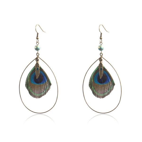Peacock Feather & Goldtone Bead-Accent Open Drop Earring