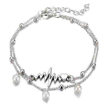 Imitation Pearl & Silvertone Heartbeat Layered Anklet