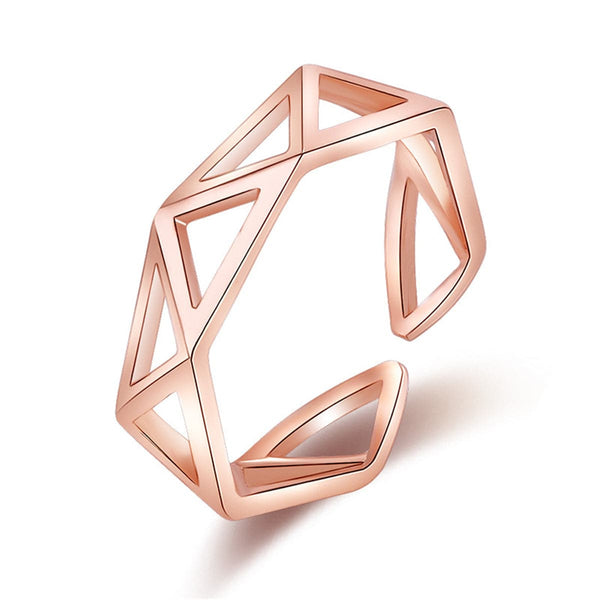 18k Rose Gold-Plated Hollow Triangle Band - streetregion