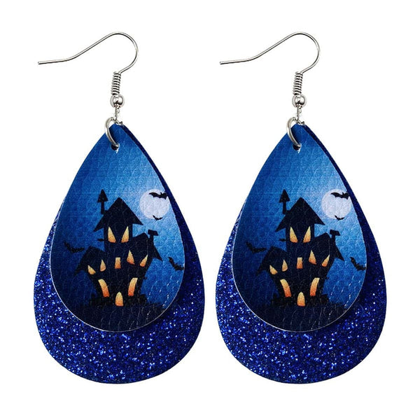 Blue Haunted House Drop Earrings