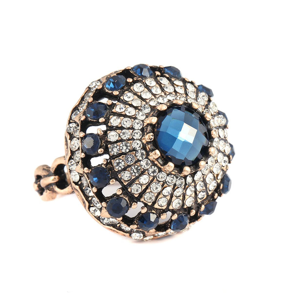 Blue Cubic Zirconia & Crystal Ball Ring - streetregion