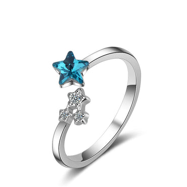 Blue Crystal & Cubic Zircon Star Bypass Ring - streetregion
