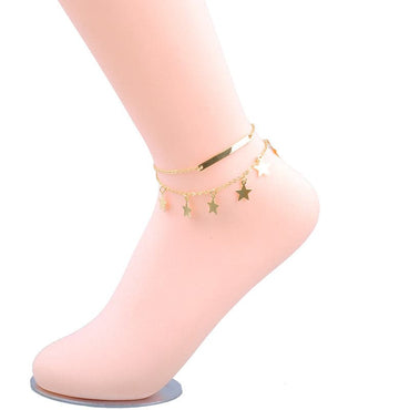 18k Gold-Plated Star Layered Charm Anklet - streetregion