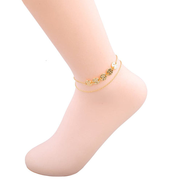 18k Gold-Plated Sequin Layered Anklet - streetregion