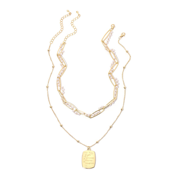 Imitation Pearl & Goldtone 'Mother & Daughter' Pendant Necklace Set