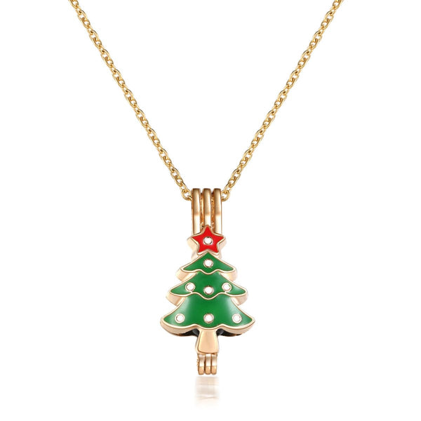 18K Rose Gold-Plated & Green Tree Pendant Necklace - streetregion