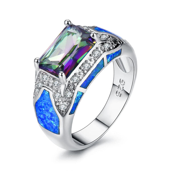 Blue Opal & Crystal Rectangle Ring