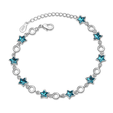 Blue Crystal & Silver-Plated Star Station Bracelet - streetregion