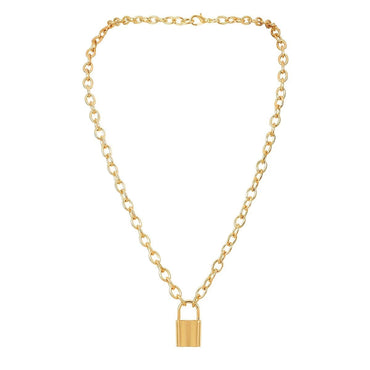 18k Gold-Plated Lock Pendant Necklace