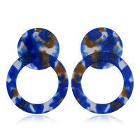Blue Acrylic Circle Drop Earrings - streetregion