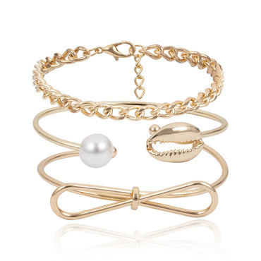 Imitation Pearl Bow & Shell Cuff Set