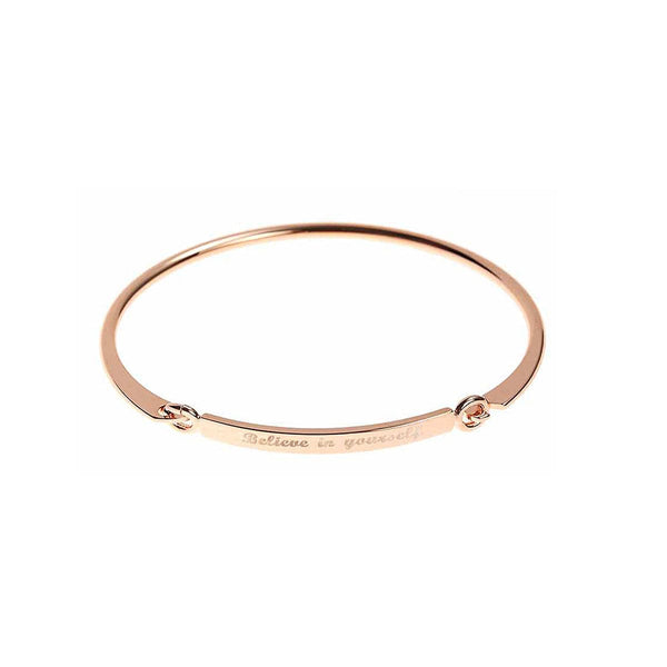 18k Rose Gold-Plated 'Believe In Yourself' Bangle - streetregion