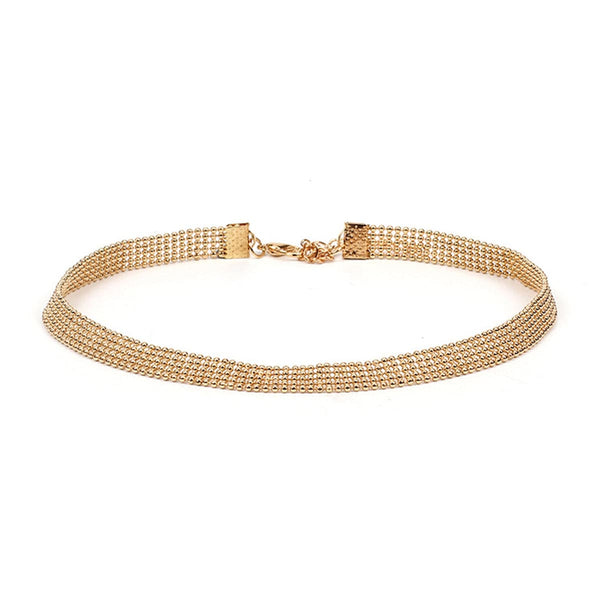 18k Gold-Plated Beaded Choker Necklace - streetregion