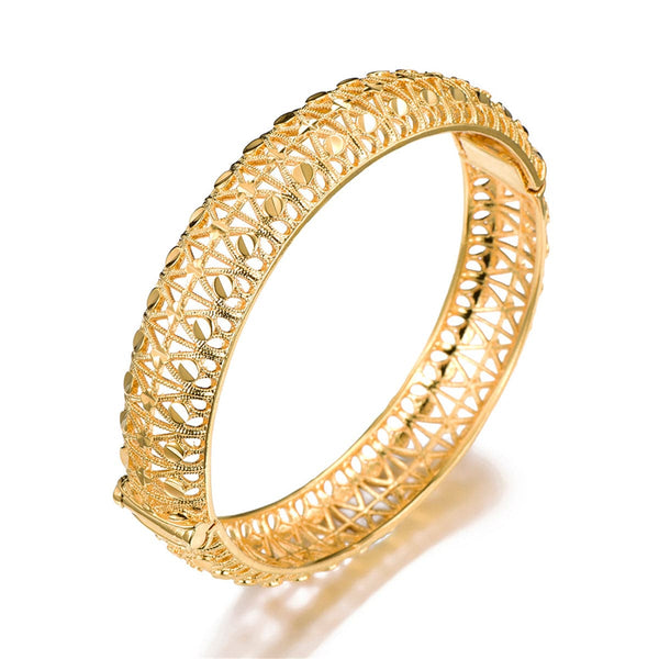 18k Gold-Plated Botany Hollow Bangle
