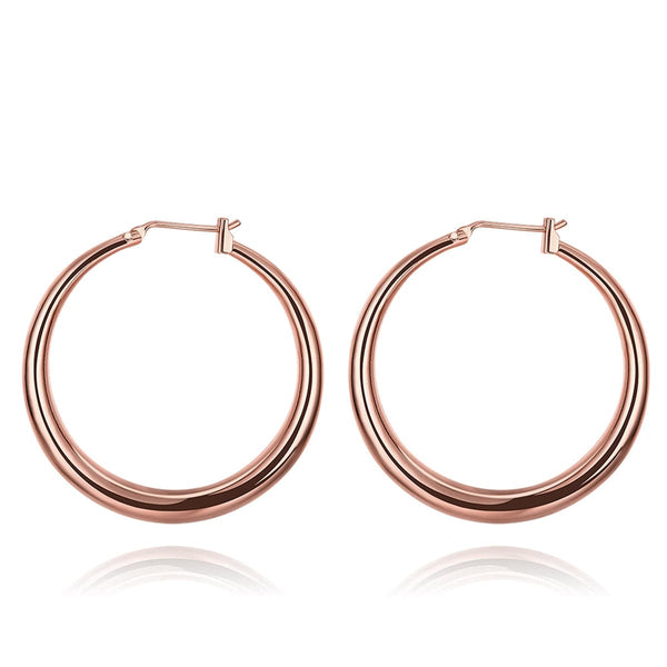 18k Rose Gold-Plated Polished Barrel Hoop Earrings - streetregion