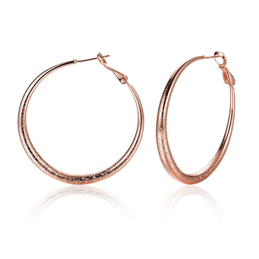 18k Rose Gold-Plated Hoop Earrings - streetregion