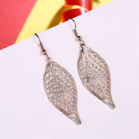18k Rose Gold-Plated Openwork Leaf Drop Earrings - streetregion