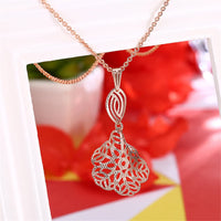18k Rose Gold-Plated Openwork Morning Glory Pendant Necklace - streetregion