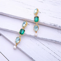 Blue Crystal & Imitation Pearl Linking Drop Earrings - streetregion