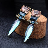 Blue & Pink Crystal & 18k Gold-Plated Drop Drop Earrings - streetregion
